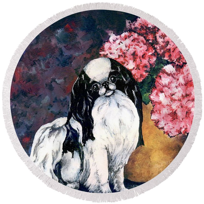 Japanese Chin Round Beach Towel featuring the painting Japanese Chin And Hydrangeas by Kathleen Sepulveda