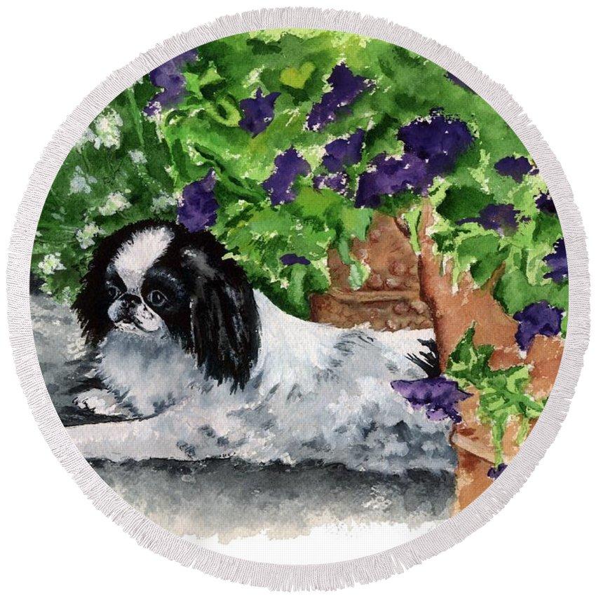 Japanese Chin Round Beach Towel featuring the painting Japanese Chin Puppy And Petunias by Kathleen Sepulveda