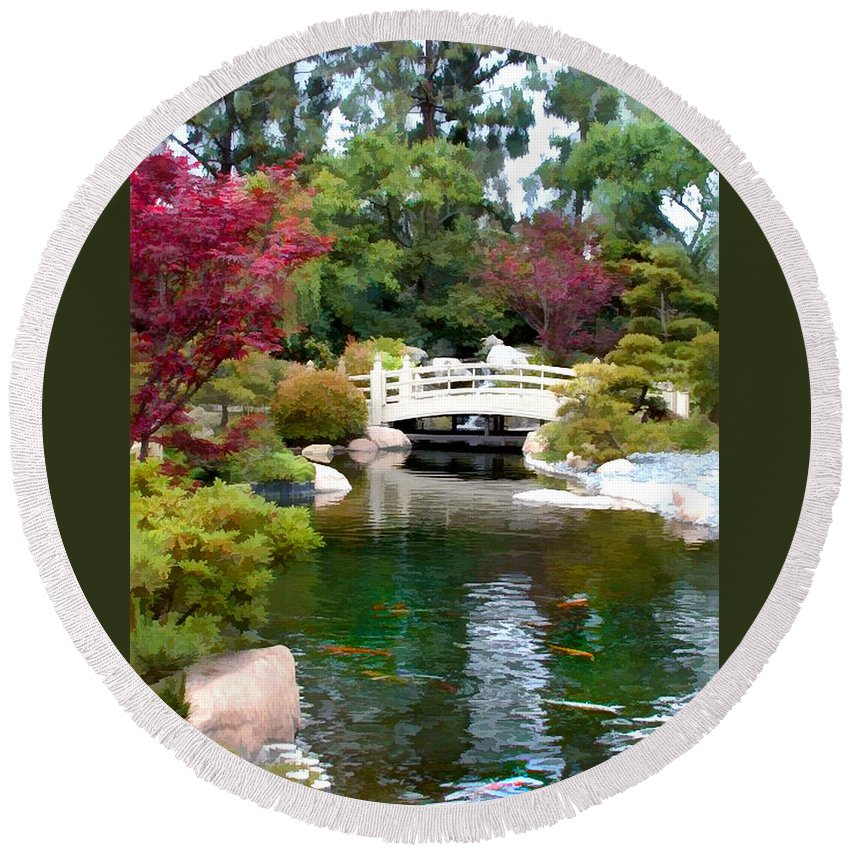Nature Round Beach Towel featuring the painting Japanese Garden Bridge And Koi Pond by Elaine Plesser