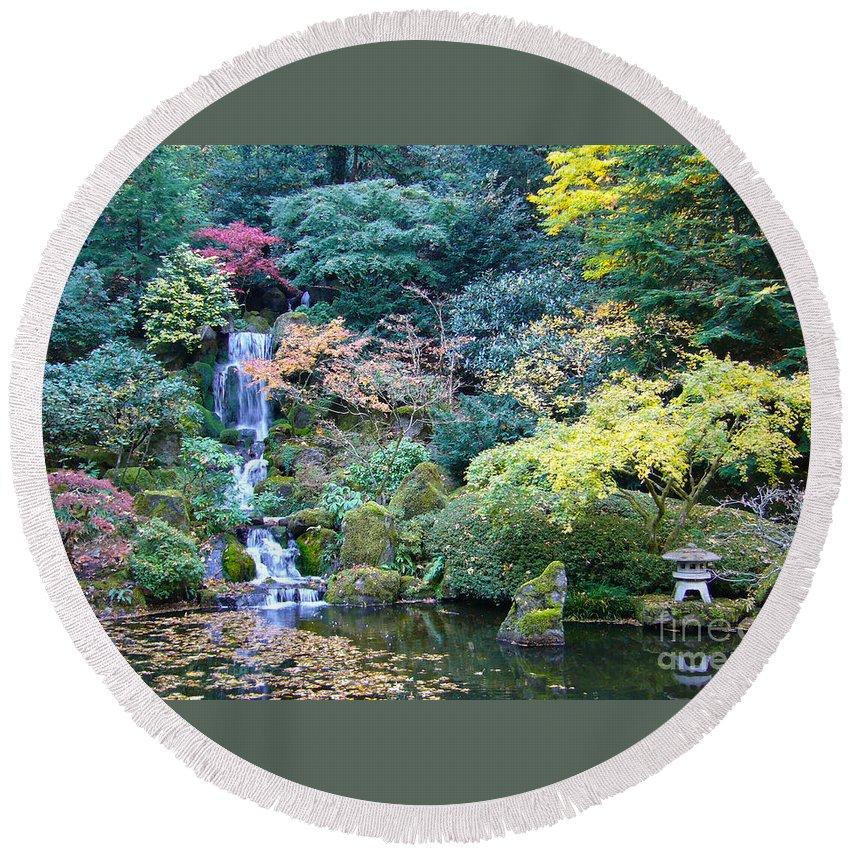 Japanese Garden Round Beach Towel featuring the photograph Zen Japanese Garden by Sonal Dave