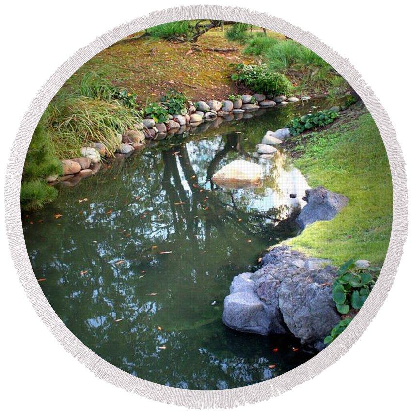 Japanese Garden Round Beach Towel featuring the photograph Japanese Garden Reflection by Carol Groenen