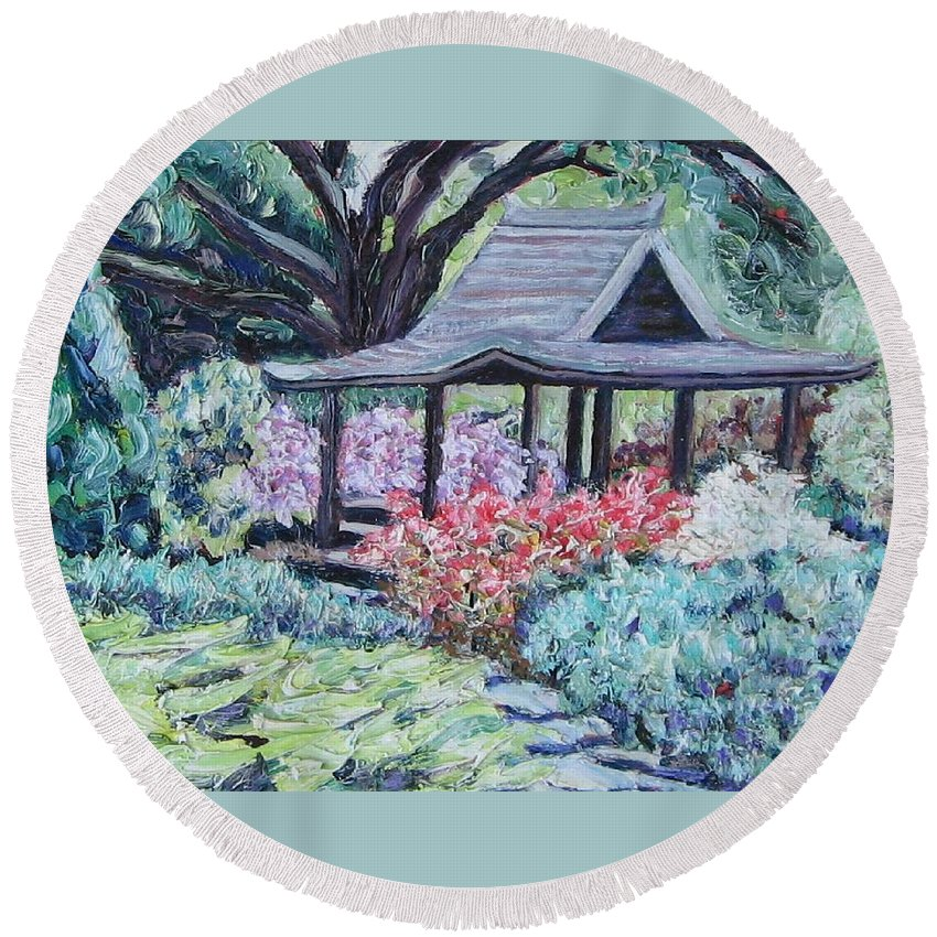 Garden Round Beach Towel featuring the painting Japanese Garden by Richard Nowak