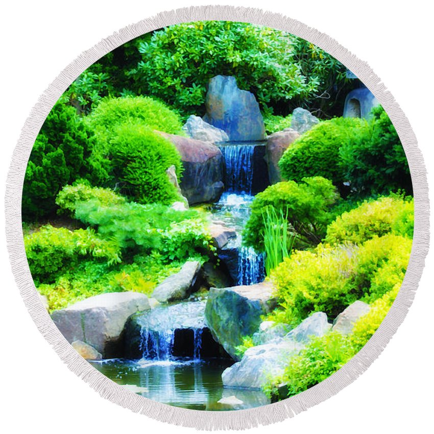 Japanese Round Beach Towel featuring the photograph Japanese Garden Waterfall by Bill Cannon