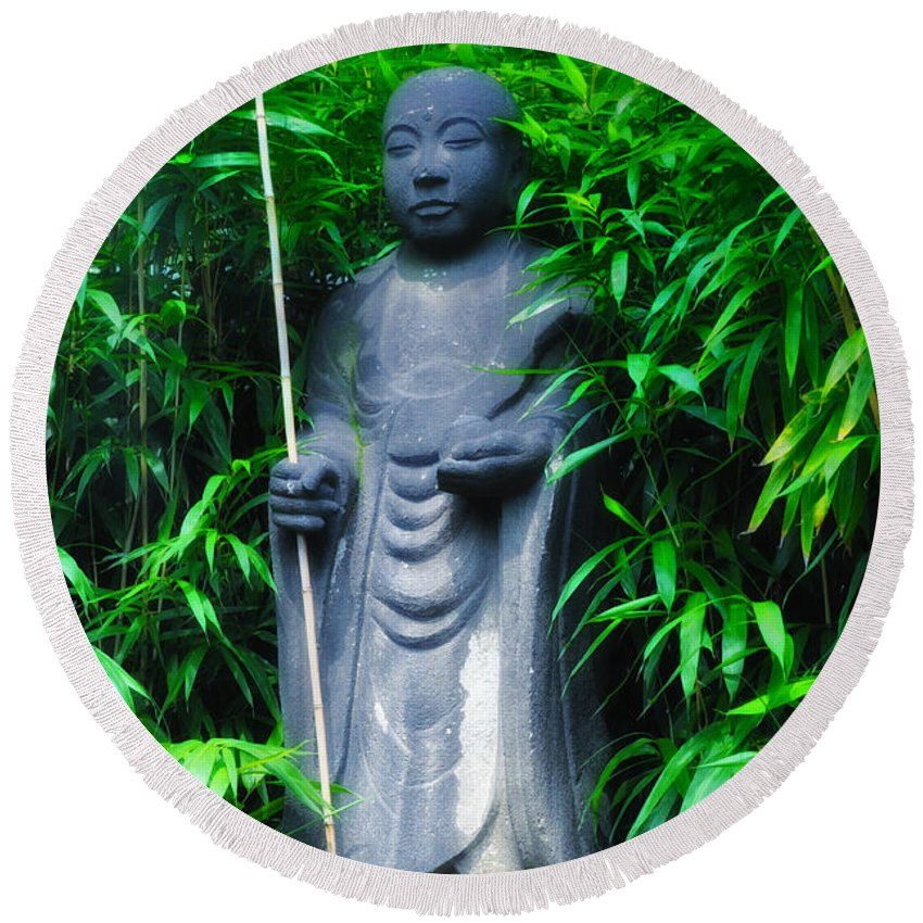 Japanese Round Beach Towel featuring the photograph Japanese House Monk Statue by Bill Cannon