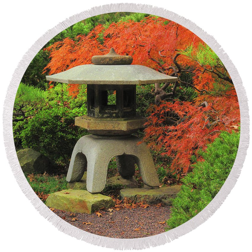 Japanese Lantern Round Beach Towel featuring the photograph Japanese Maple And Lantern 1 by Greg Matchick