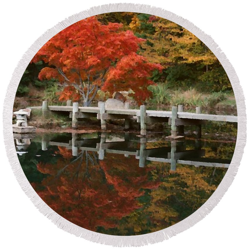 Maymont Round Beach Towel featuring the photograph Japanese Reflection by Tina Meador