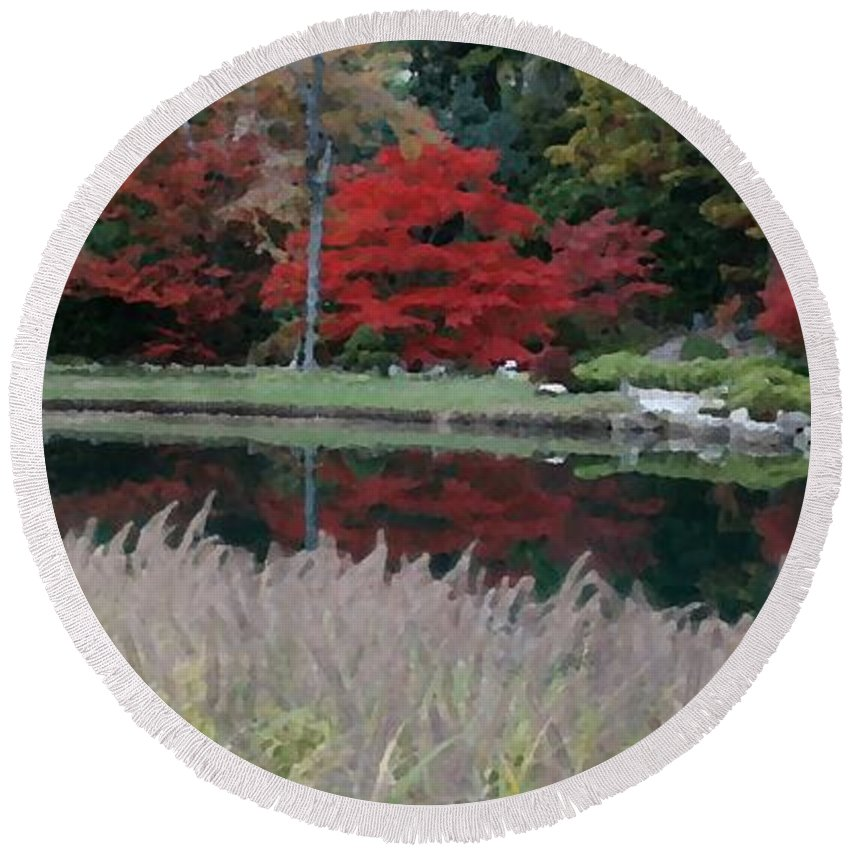 Japanese Round Beach Towel featuring the mixed media Japanese Serenity by Tina Meador