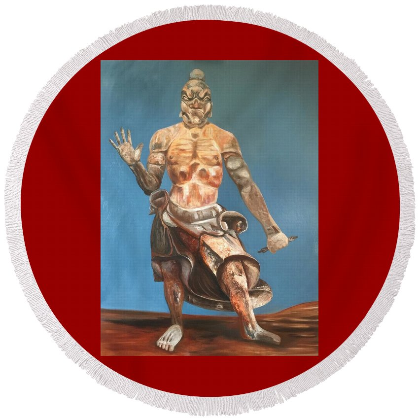 Japanese Temple Guard Round Beach Towel featuring the painting Japanese Templeguard by Tino Alberts