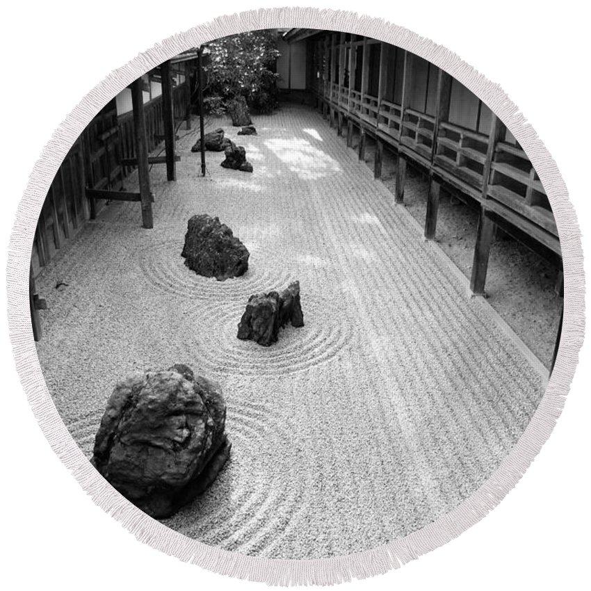 Japan Round Beach Towel featuring the photograph Japanese Zen Garden by Sebastian Musial