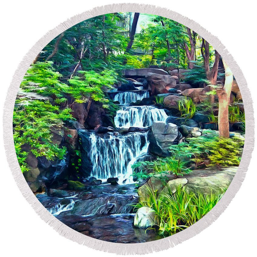 Waterfall Round Beach Towel featuring the photograph Japanese Waterfall Garden by Scott Carruthers