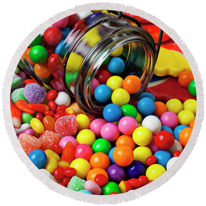 Jar Spilling Bubblegum Candy Concept Concept Conceptual Color Colour Colorful Round Beach Towel featuring the photograph Jar Spilling Bubblegum With Candy by Garry Gay