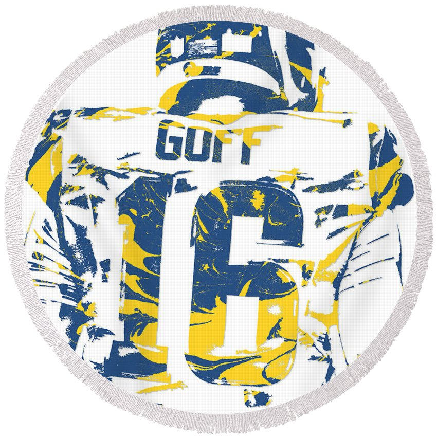 Jared Goff Round Beach Towel featuring the mixed media Jared Goff Los Angeles Rams Pixel Art 2 by Joe Hamilton