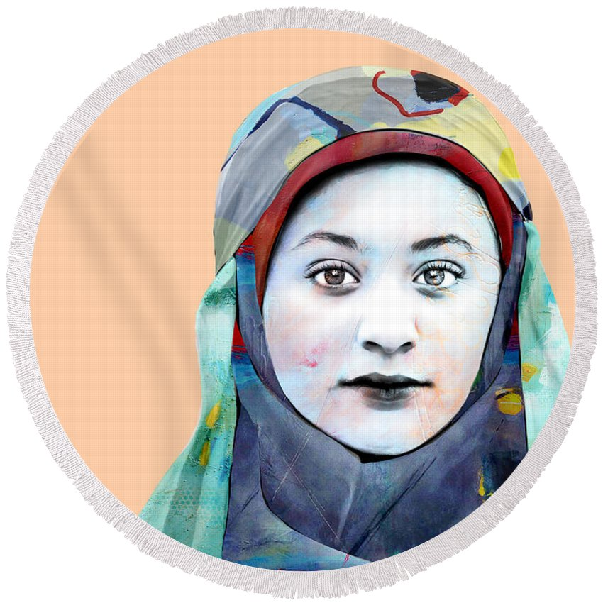 Pop Art Round Beach Towel featuring the photograph Jasmine by Dominic Piperata