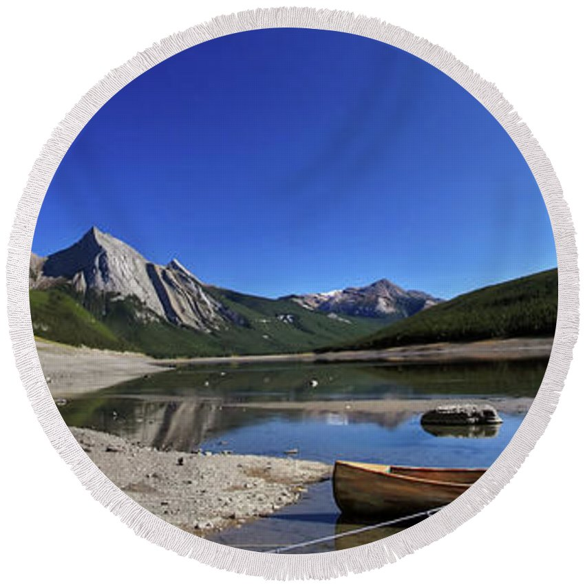 Round Beach Towel featuring the digital art Jasper Alberta by Mark Duffy