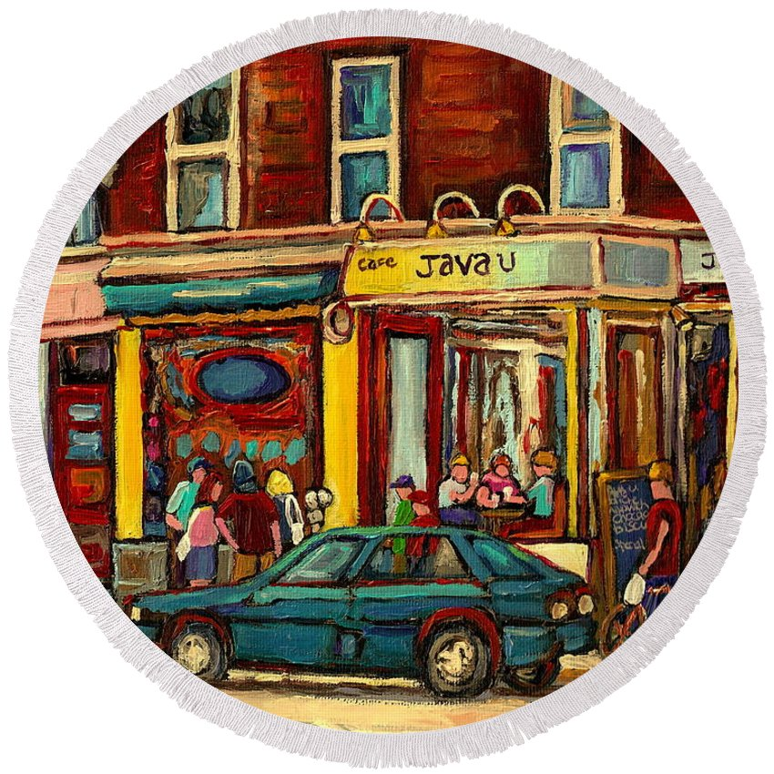 Java U Coffee Shops Round Beach Towel featuring the painting Java U Coffee Shop Montreal Painting By Streetscene Specialist Artist Carole Spandau by Carole Spandau