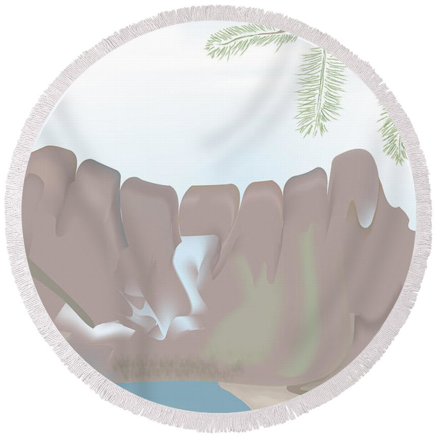 Landscape Round Beach Towel featuring the digital art Jaw Mountain by Kevin McLaughlin