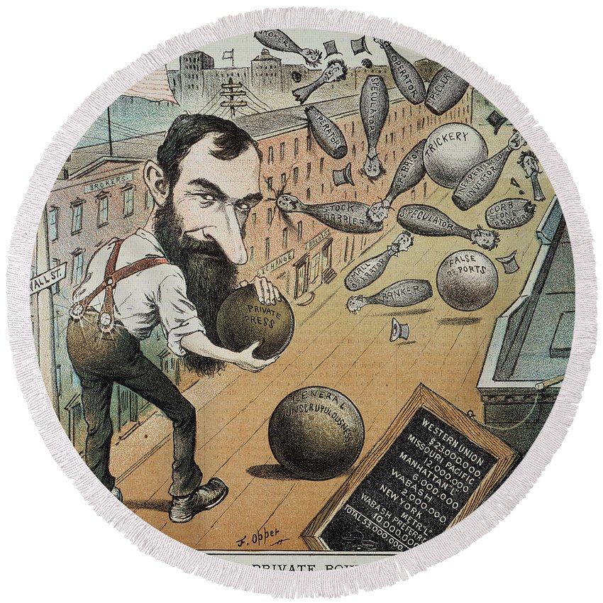 1882 Round Beach Towel featuring the photograph Jay Gould Cartoon, 1882 by Granger
