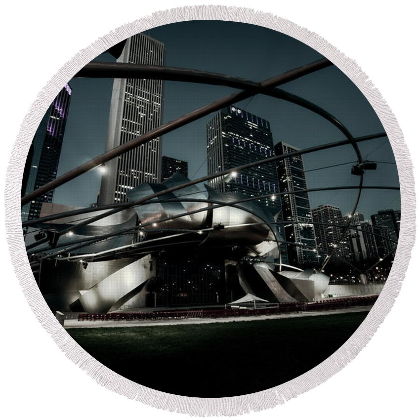 Chicago Round Beach Towel featuring the photograph Jay Pritzker Pavilion - Chicago by Daniel Hagerman