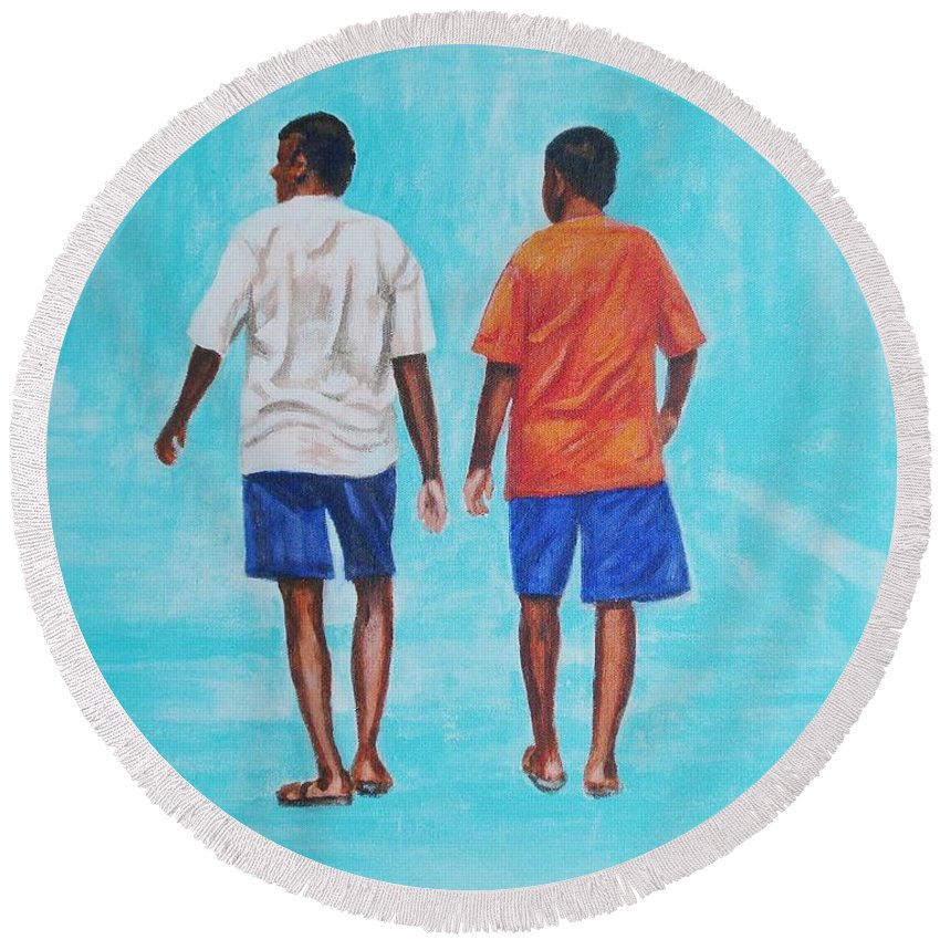 Round Beach Towel featuring the painting Jay Walkers by Usha Shantharam