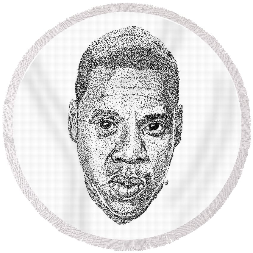 Black Art Round Beach Towel featuring the drawing Jay Z by Marcus Price