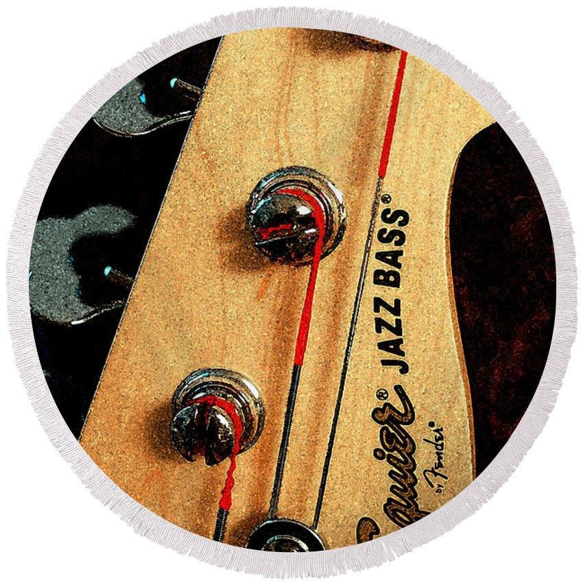 Still Life Round Beach Towel featuring the digital art Jazz Bass Headstock by Todd Blanchard