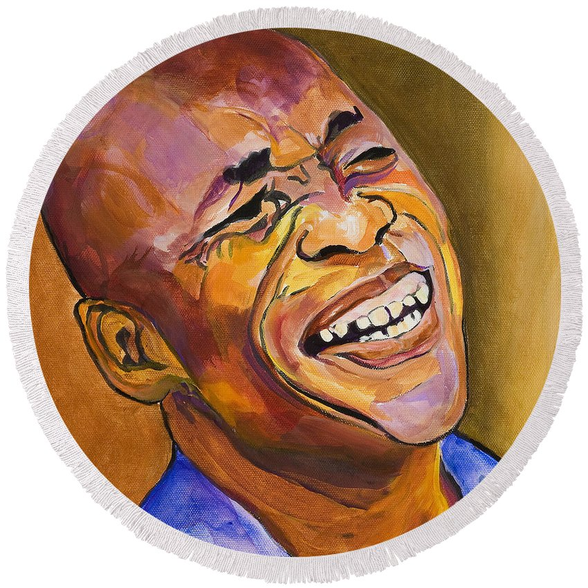 Portraits Round Beach Towel featuring the painting Jazz Man by Pat Saunders-White