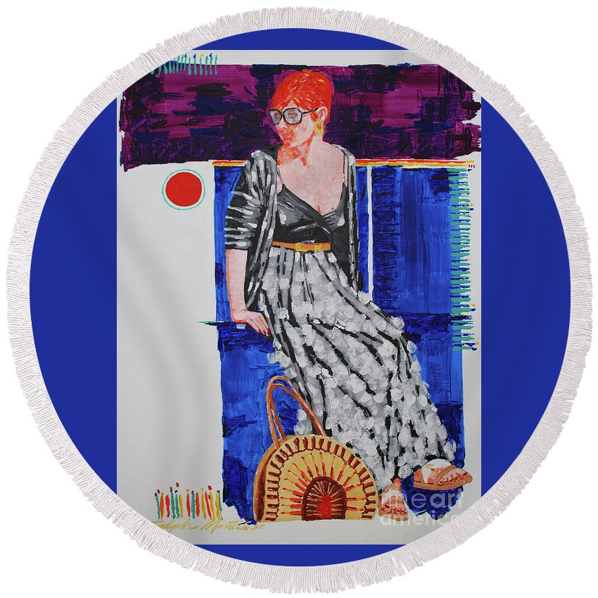 Realistic Round Beach Towel featuring the painting Jazz On The Square by Art Mantia