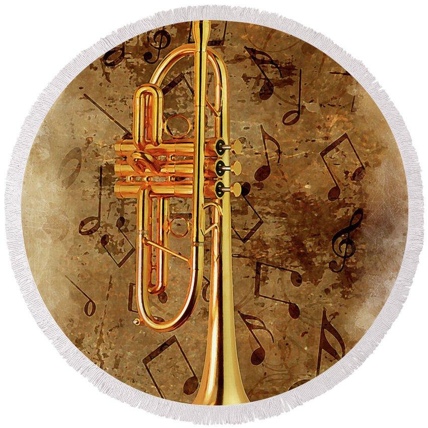 Jazz Round Beach Towel featuring the digital art Jazz Trumpet by Karl Knox Images