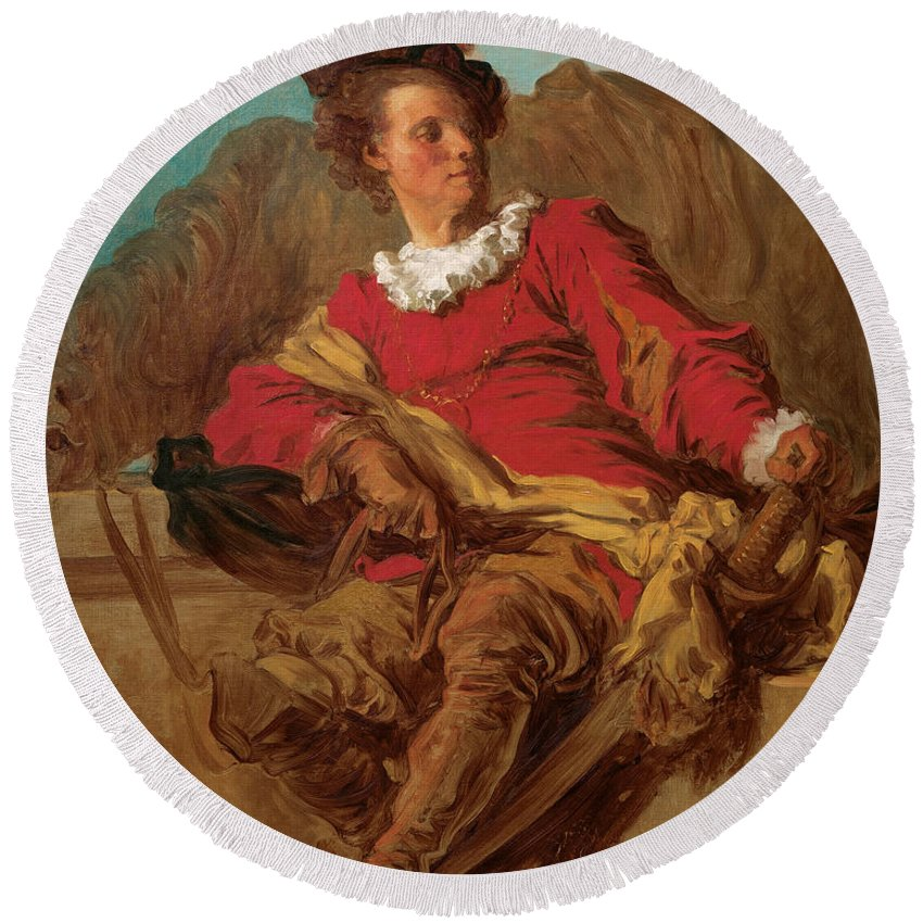 Jean-honore Fragonard Round Beach Towel featuring the painting Jean-claude Richard Abbe Of Saint-non by Jean-Honore Fragonard