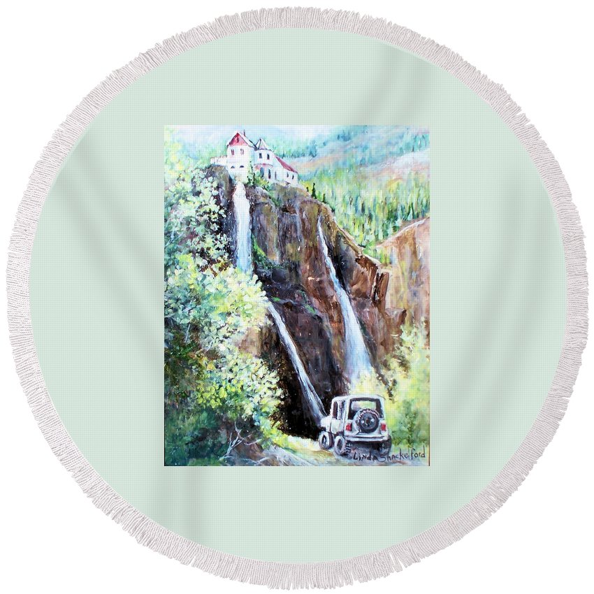 Waterfall Round Beach Towel featuring the painting Jeeping At Bridal Falls by Linda Shackelford