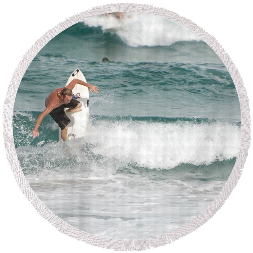 Ocean Round Beach Towel featuring the photograph Jeff Spicolli by Rob Hans