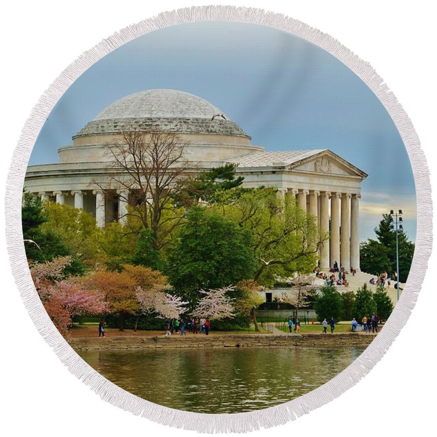 Washington Round Beach Towel featuring the photograph Jefferson Memorial, Springtime In Dc Is When Things Bloom, Like The Japanese Cherry Trees by William Bartholomew