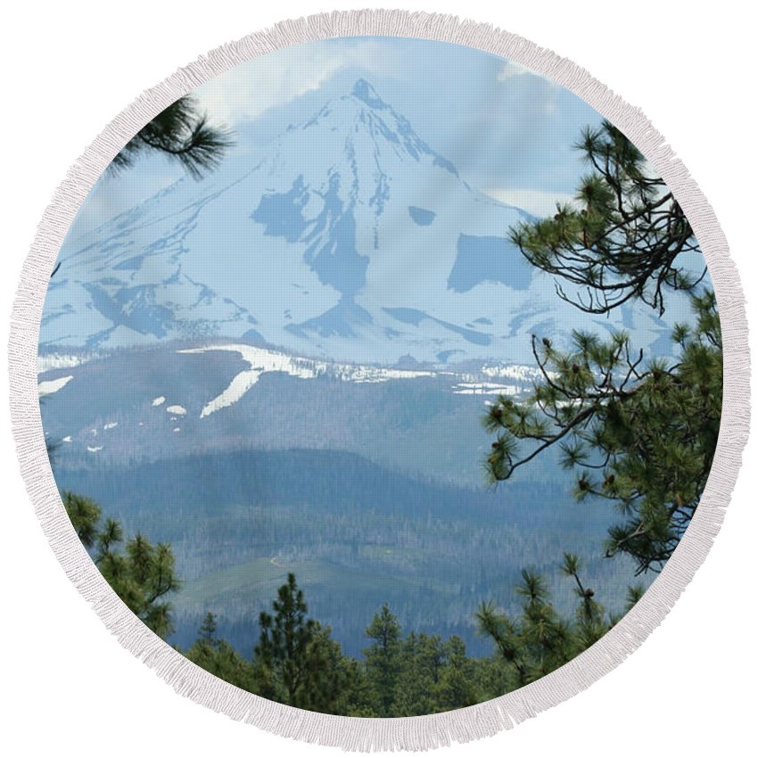 Mount Jefferson Round Beach Towel featuring the photograph Jefferson Pines by Laddie Halupa