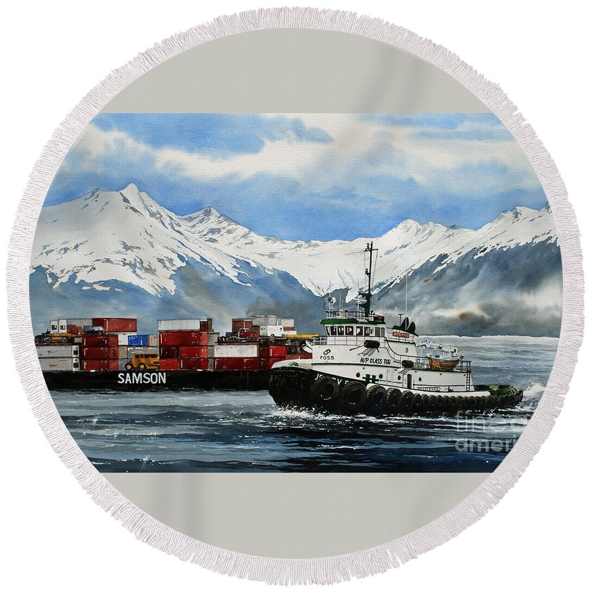 Tugs Round Beach Towel featuring the painting Jeffrey Foss Samson Tow by James Williamson