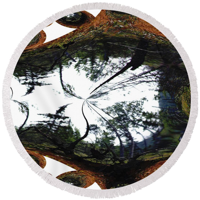 Trees Forest Life Cells Abstract Earth Sky Scenery Weird Different Green Land Round Beach Towel featuring the photograph Jellin by Andrea Lawrence