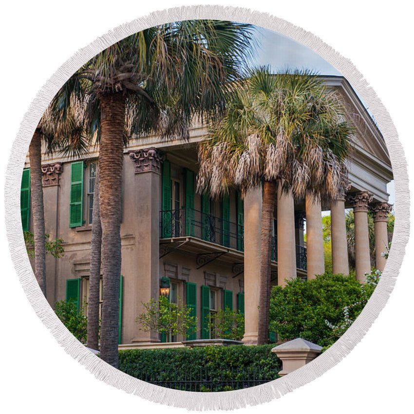 Charleston Round Beach Towel featuring the photograph Jenkins Mickell House by Dale Powell