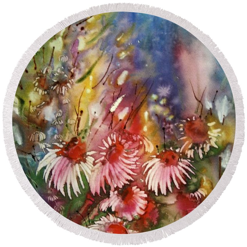 Floral Round Beach Towel featuring the painting Jennie by Shirley Sykes Bracken
