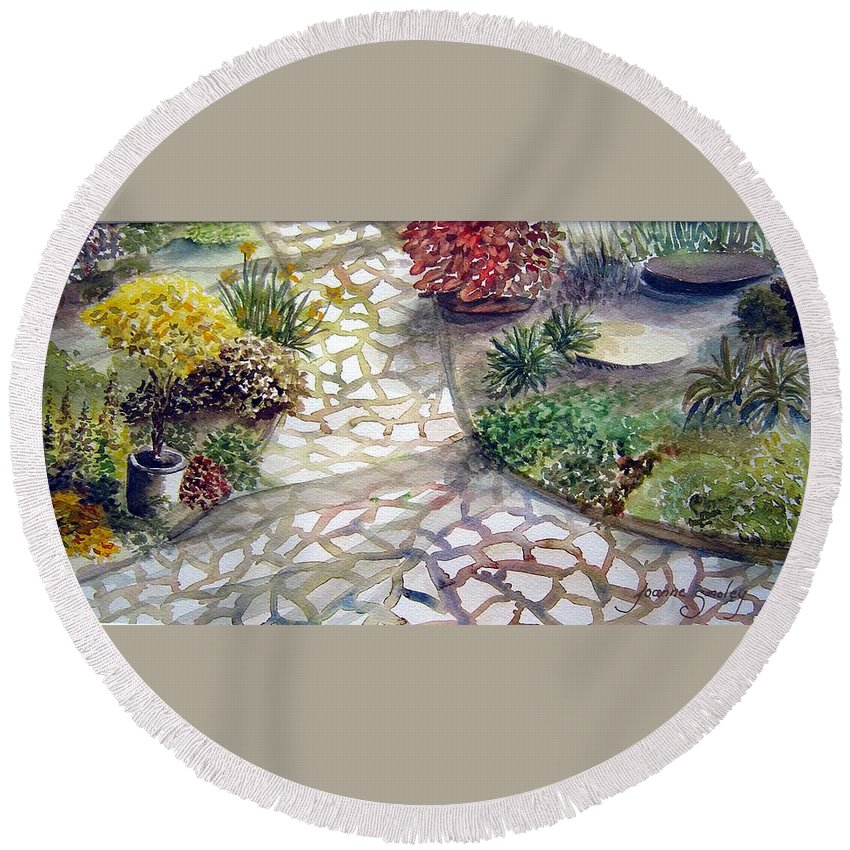 Garden Path Plants Round Beach Towel featuring the painting Jennifers Garden by Joanne Smoley