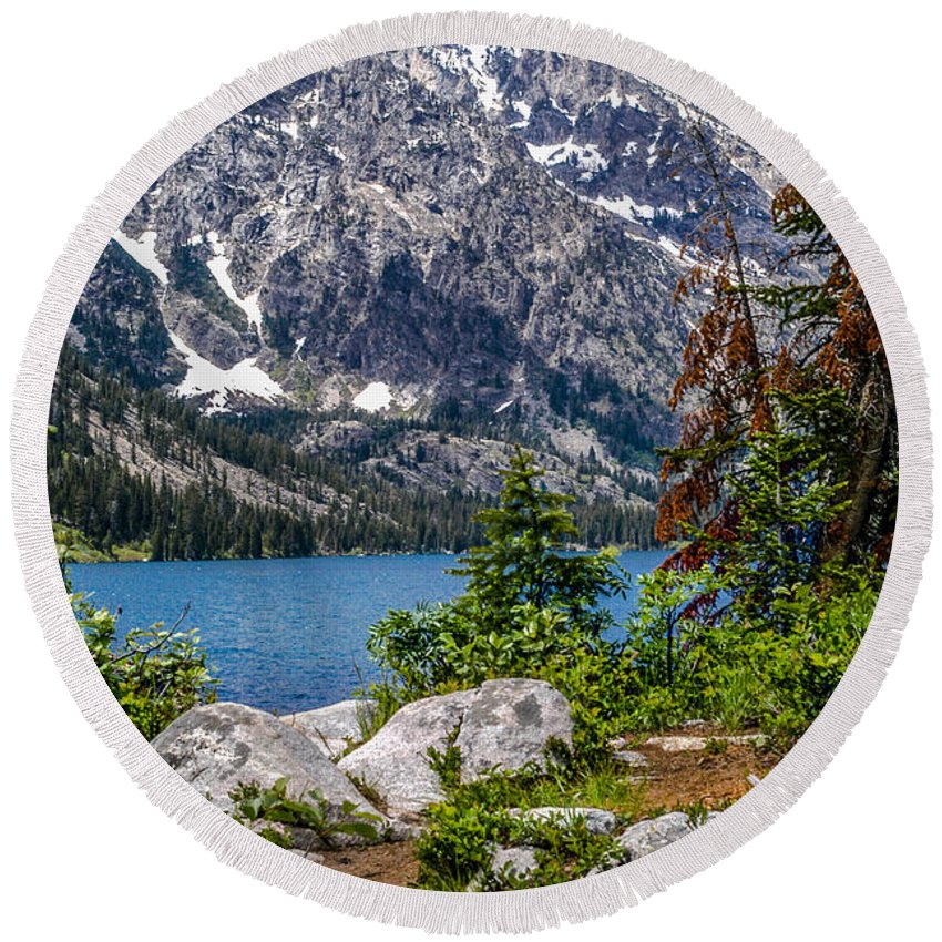 Stock Round Beach Towel featuring the photograph Jenny Lake Tetons by Thomas Levine