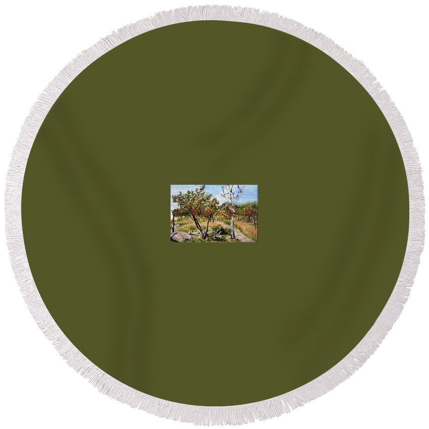Landscape Round Beach Towel featuring the painting Jerabiny by Pablo de Choros