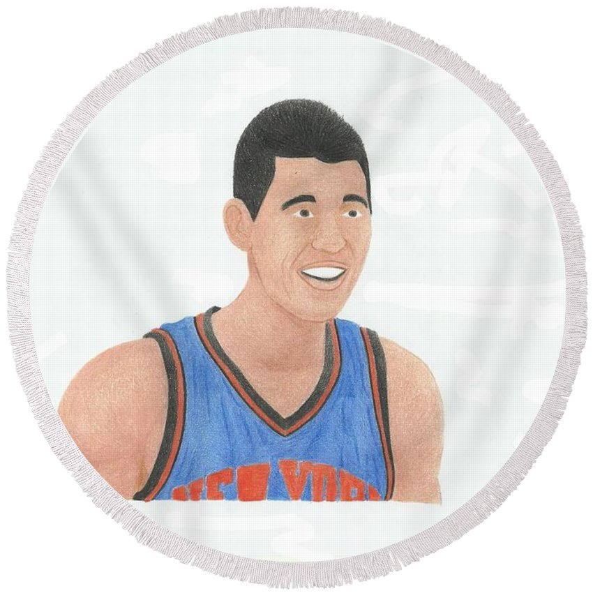 Basketball Round Beach Towel featuring the drawing Jeremy Lin by Toni Jaso