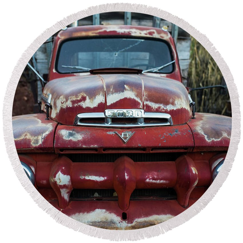 Jerome, Az Junk Yard Ford V8 Red Old Rusty Truck Round Beach Towel ...