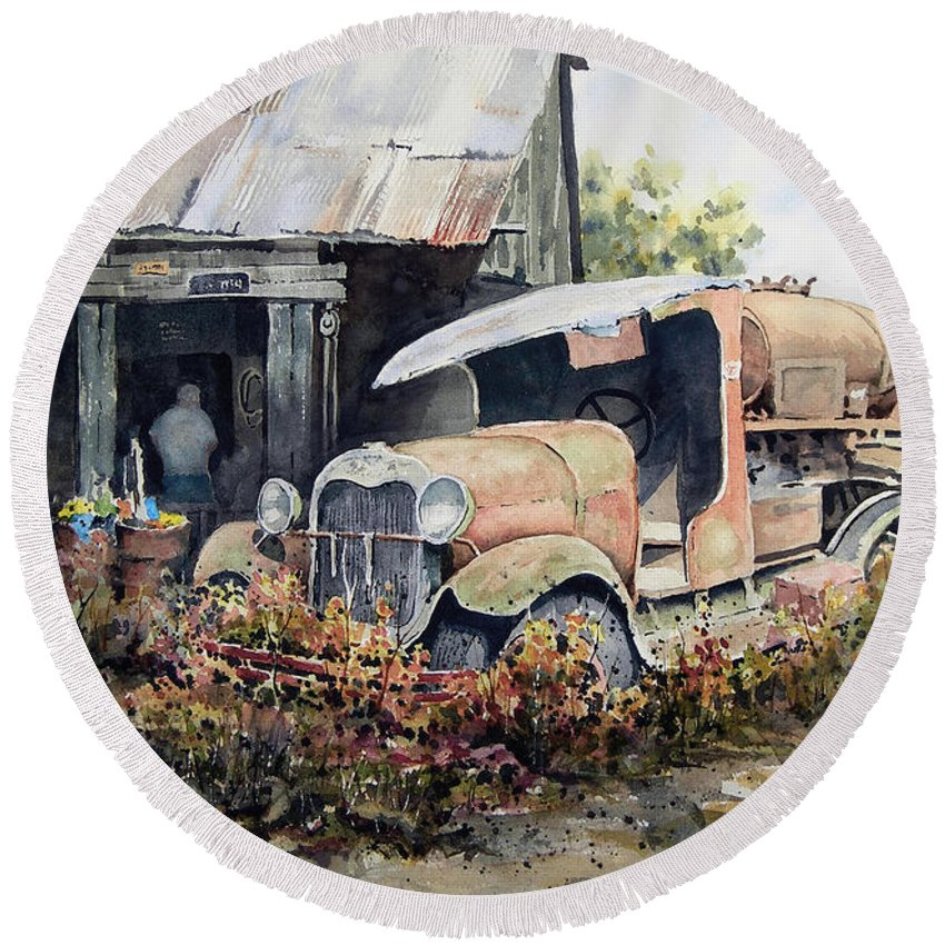 Truck Round Beach Towel featuring the painting Jeromes Tank Truck by Sam Sidders