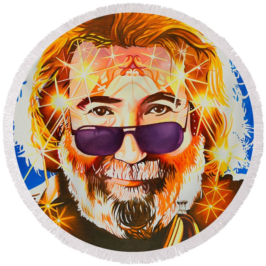 Jerry Garcia Round Beach Towel featuring the painting Jerry Garcia-dark Star by Joshua Morton