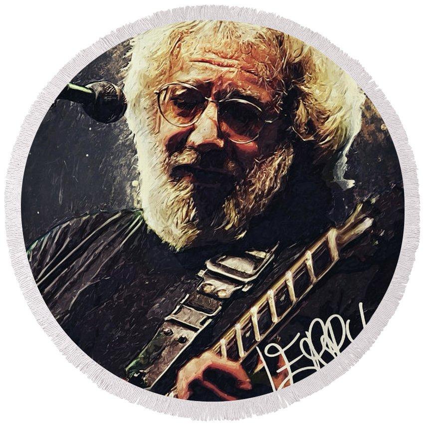 Jerry Garcia Round Beach Towel featuring the digital art Jerry Garcia by Zapista