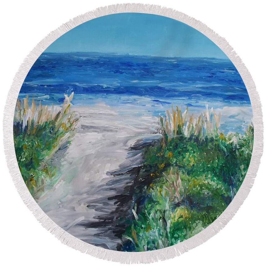 Jersey Shore Round Beach Towel featuring the painting Jersey Shore Dunes by Eric Schiabor