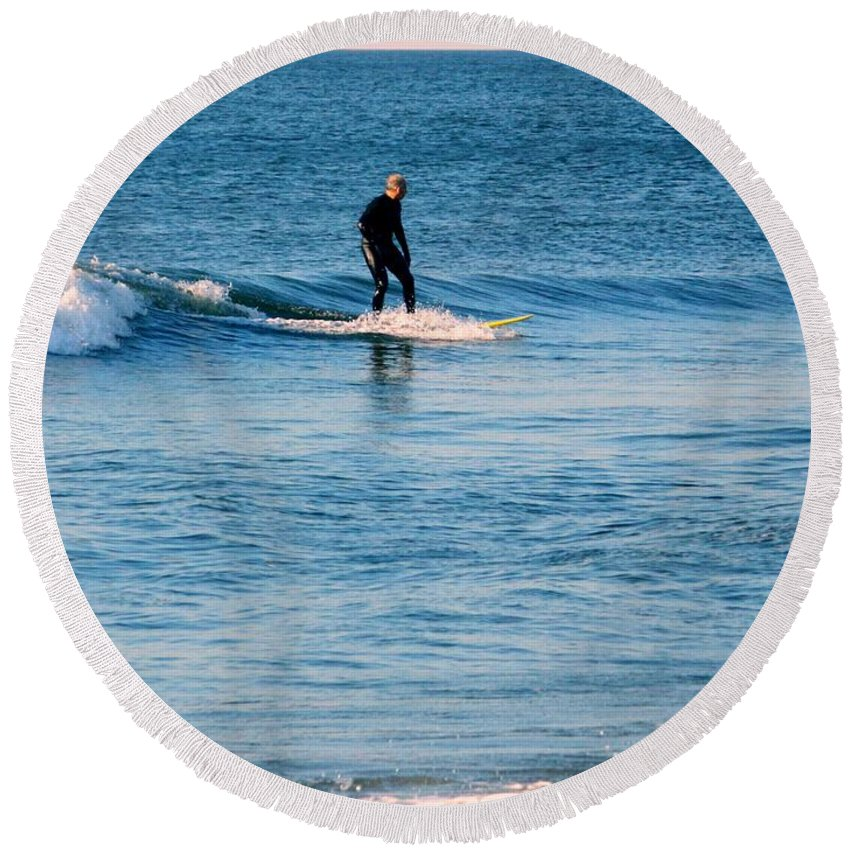 Ocean Round Beach Towel featuring the photograph Jersey Shore Surfer by Arlane Crump