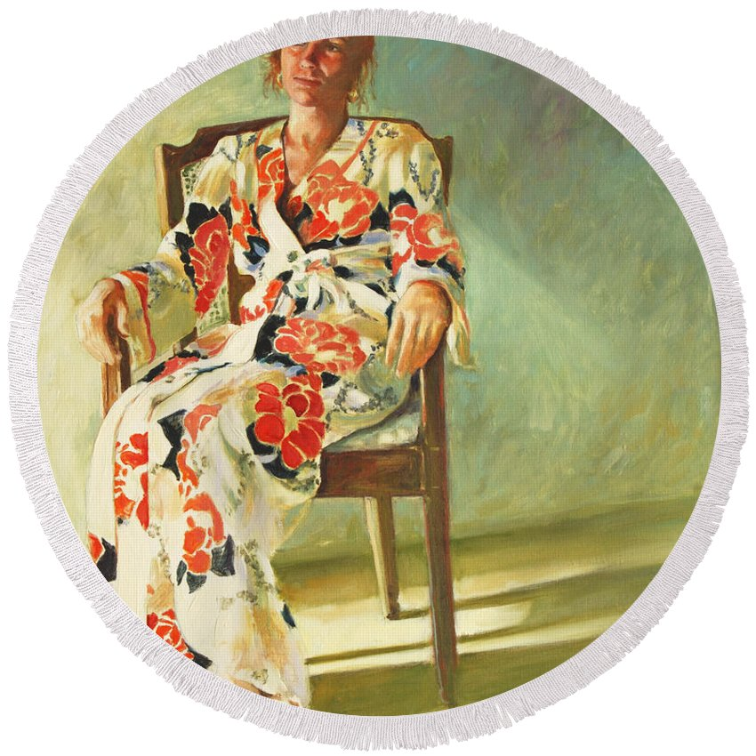 Girl Round Beach Towel featuring the painting Jess by Rick Nederlof