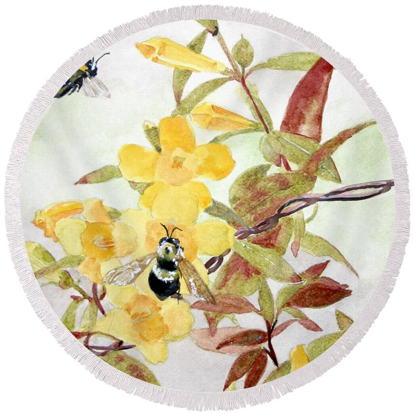 Jasmine Round Beach Towel featuring the painting Jessamine Bee Mine by Jean Blackmer