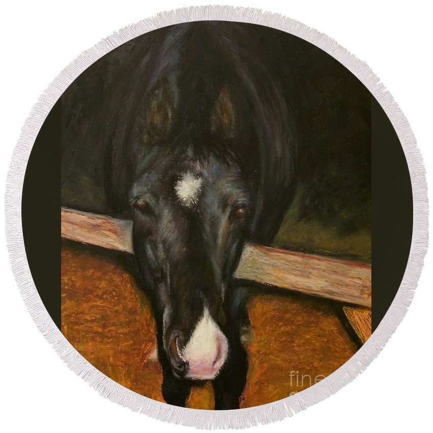 Horse Round Beach Towel featuring the painting Jesse by Frances Marino